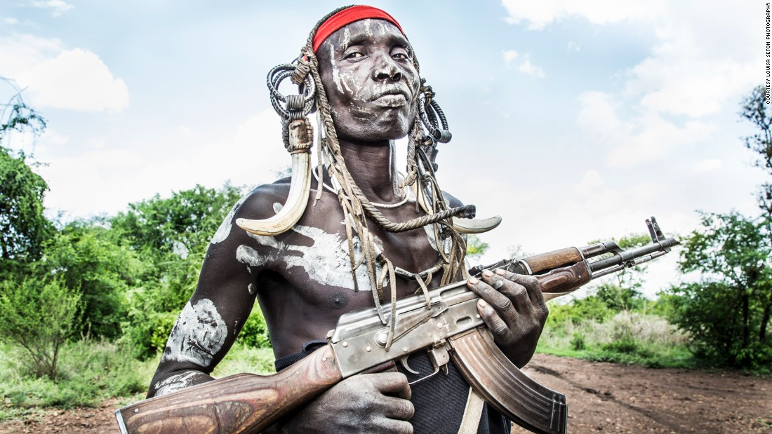 """""""(It) was slightly intimidating negotiating to photograph this man,"""" Seton says. """"Historically, the tribes in this remote region of Ethiopia have engaged in inter-tribal feuds. They are known to kill each other over cattle, land-grazing and water hole disputes."""""""