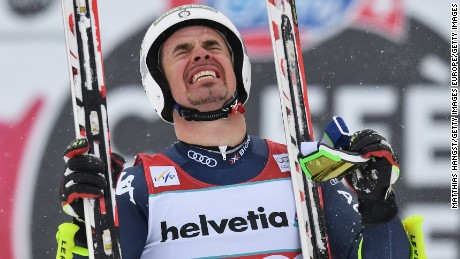 ST MORITZ, SWITZERLAND - MARCH 16:  Peter Fill of Italy celebrates after winning the Men's World Cup Downhill Crystal Globe trophy after the Audi FIS Alpine Skiing World Cup Men's Downhill Race on March 16, 2016 in St Moritz, Switzerland.  (Photo by Matthias Hangst/Getty Images)