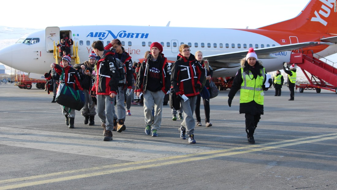 Athletes from Canada's Yukon territory get off the plane in Greenland -- for most of them, it was their first trip to this part of the world.