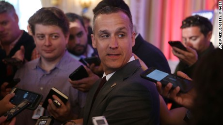 Corey Lewandowski campaign manager for Republican presidential candidate Donald Trump speaks with the media before former presidential candidate Ben Carson gives his endorsement to Mr. Trump at the Mar-A-Lago Club on March 11, 2016 in Palm Beach, Florida.