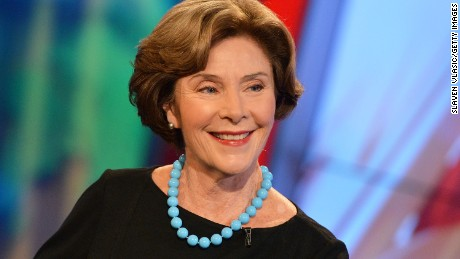 """NEW YORK, NY - SEPTEMBER 24:  Former First Lady of the United States Laura Bush visits FOX's """"America's Newsroom"""" at FOX Studios on September 24, 2014 in New York City.  (Photo by Slaven Vlasic/Getty Images)"""