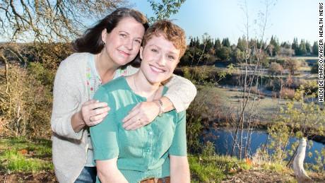 Pam and Amanda Lipp pose near their home in California.