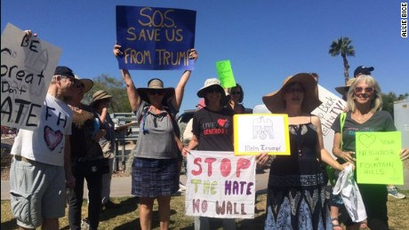 Fountain Hills residents for 30+ years these protestors don't like #TrumpRally going on in their home
