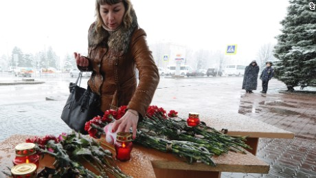 Tributes to crash victims at the Rostov-on-Don airport.
