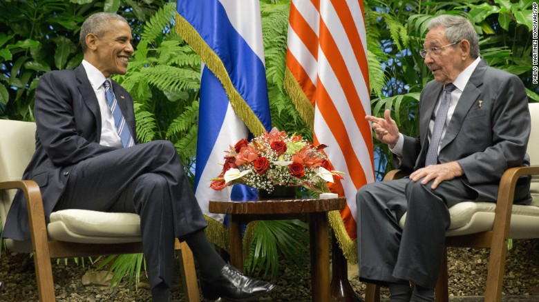 U.S. President Barack Obama, left, meets with Cuban President Raul Castro in Havana, Cuba, on Monday, March 21. Obama is the first U.S. President to visit Cuba since Calvin Coolidge in 1928.