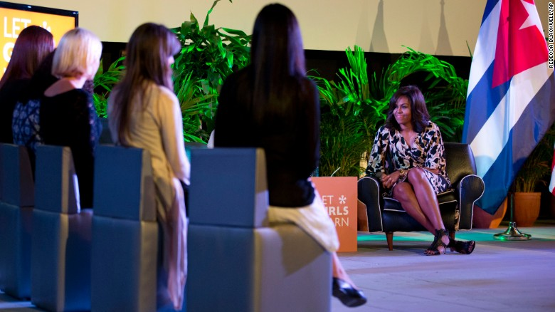 U.S. first lady Michelle Obama speaks with Cuban girls during a Let Girls Learn roundtable in Havana on March 21.