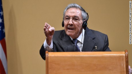 """Cuban President Raul Castro speaks at a press conference with US President Barack Obama (out of frame) at the Revolution Palace in Havana on March 21, 2016. On Monday, Castro stood next to Obama and hailed his opposition to a long-standing economic """"blockade,"""" but said it would need to end before ties are fully normalized.   AFP PHOTO/Nicholas KAMM / AFP / NICHOLAS KAMM        (Photo credit should read NICHOLAS KAMM/AFP/Getty Images)"""