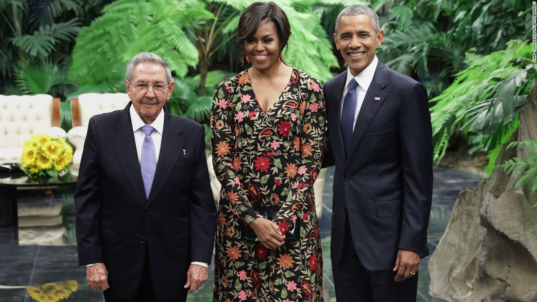 The Obamas pose with Castro before a state dinner in Havana on Monday, March 21.