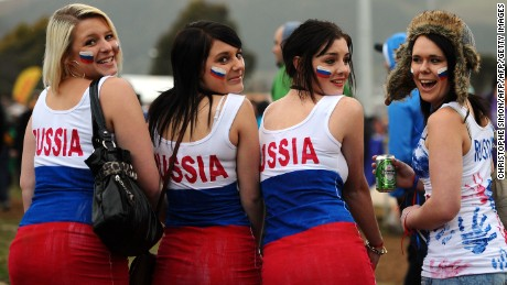 Russian fans attend the 2011 Rugby World Cup pool C match Australia vs Russia at Trafalgar Park in Nelson on October 1, 2011. AFP PHOTO / CHRISTOPHE SIMON (Photo credit should read CHRISTOPHE SIMON/AFP/Getty Images)