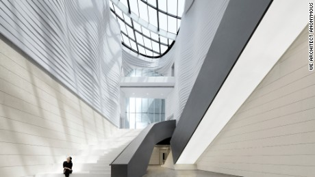 The Yinchuan Museum of Contemporary Art was designed by Chinese architects, we architect anonymous (waa). Yinchuan is an industrial city in northwest China, in the Ningxia Hui Autonomous Region.