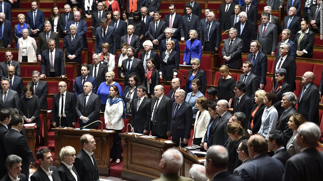 France's Parliament observes a minute of silence on March 22.