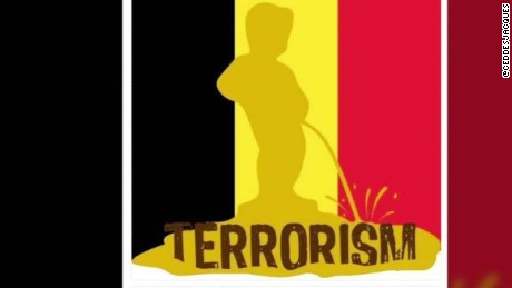 Famous Belgian statue becomes icon against terrorism