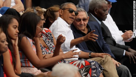 U.S. President Barack Obama and Cuban President Raul Castro visit during an exhibition game between the Cuban national team and the Major League Baseball team Tampa Bay Devil Rays at the Estado Latinoamericano March 22, 2016 in Havana, Cuba.