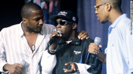 Phife Dawg,center, of A Tribe Called Quest died on March 23, 2016. Dawg and Q-Tip performs as part of the Smokin Grooves Tour in September 1996.