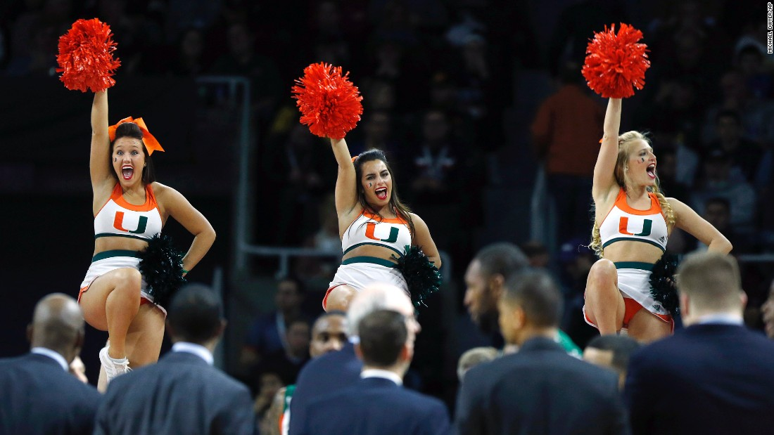 Miami cheerleaders perform during a timeout on Saturday, March 19.