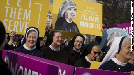 Nuns, who are opposed to the Affordable Care Act's contraception mandate, and other supporters rally outside of the Supreme Court in Washington, D.C., U.S., on Wednesday, March 23, 2016.