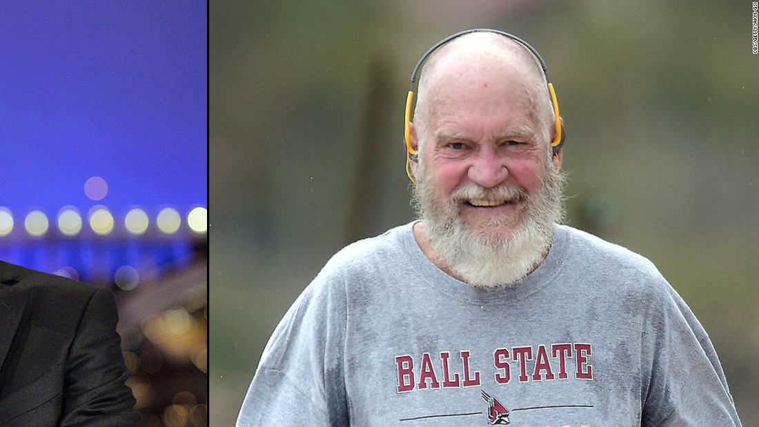 TV host David Letterman retired from his longtime late-night show in May 2015. Ten months later Letterman, heavily bearded and bald, is nearly unrecognizable jogging in the Caribbean island of St. Bart's.