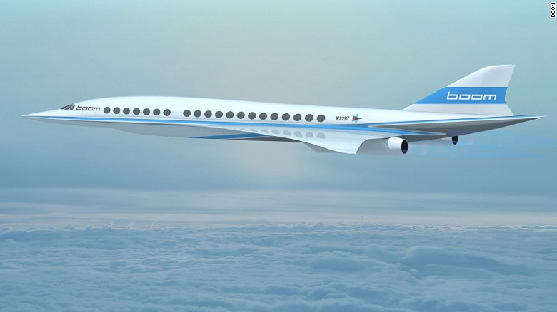 If realized, the Boom concept plane could fly New York to London in 3.4 hours or Los Angeles to Sydney in six.