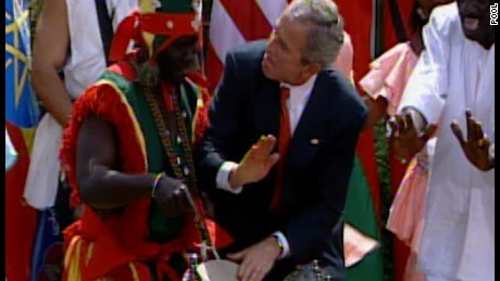 President George W. Bush dancing at the White House on April 25, 2007.