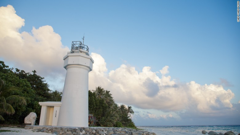 A lighthouse is pictured on Taiping Island, also known as Itu Aba, in the South China Sea.