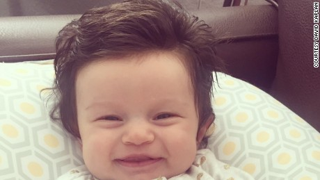 David and Mackenzie Kaplan's daughter has gone viral for her full head of hair.