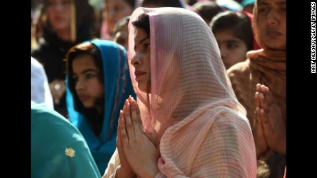 Pakistani Christians attend Mass to mark Good Friday at St Anthony's Church in Lahore.