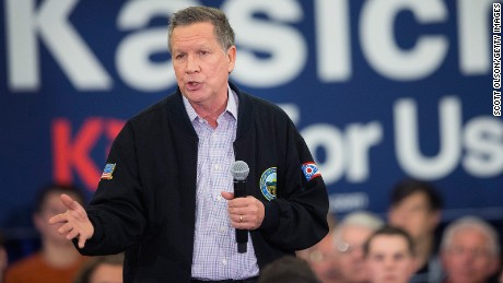 Republican presidential candidate Ohio Gov. John Kasich speaks at a campaign rally at the Crowne Plaza Milwaukee West hotel on March 23, 2016 in Wauwatosa, Wisconsin.