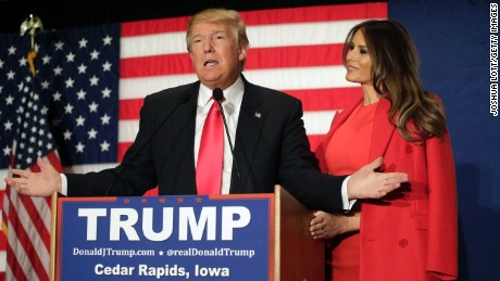 CEDAR RAPIDS, IA - FEBRUARY 1 : Republican presidential candidate Donald Trump speaks with his wife Melania Trump by his side during a campaign event at the U.S. Cellular Convention Center February1, 2016 in Cedar Rapids, Iowa. Trump who is seeking the nomination for the Republican Party attends his final campaign rally ahead of tonight's Iowa Caucus. (Photo by Joshua Lott/Getty Images)