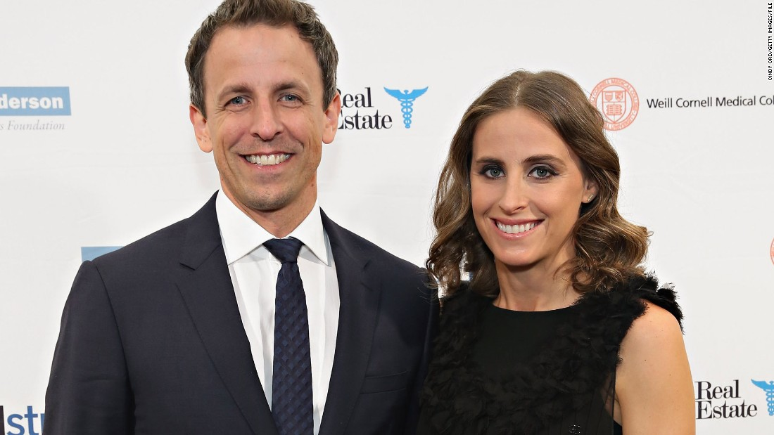 """Late Night"" host Seth Meyers and wife Alexi Ashe Meyers are first-time parents. The pair welcomed a son on Sunday, March 27."