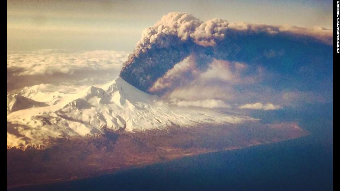 The Pavlof volcano erupts on Alaska's remote Aleutian Island archipelago on Sunday, March 27.