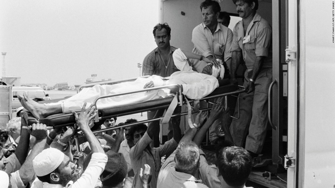 """Twenty people were killed when Pan Am Flight 73 was hijacked on September 5, 1986, at Karachi airport in Pakistan by four armed men of the Abu Nidal Organization. In this photo injured victims are evacuated to a U.S. military hospital in Germany on September 6, 1986, after a 16-hour siege. One hijacker is <a href=""""https://www.fbi.gov/wanted/wanted_terrorists/jamal-saeed-abdul-rahim/view"""" target=""""_blank"""">still wanted by the FBI.  </a>"""