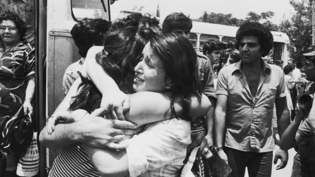 An Israeli hostage is greeted on her return to Israel after Operation Entebbe in July 1976, in which Israeli special forces rescued 100 hostages held at Entebbe Airport in Uganda by members of the Popular Front for the Liberation of Palestine following its hijacking of Air France Flight 139. Yonatan Netanyahu, the brother of current Israeli Prime Minister Benjamin Netanyahu, was the only Israel Defense Forces' fatality during the operation.