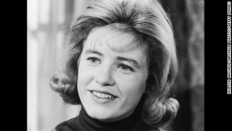 Actor Patty Duke smiling in a still from the television series 'The Patty Duke Show'.
