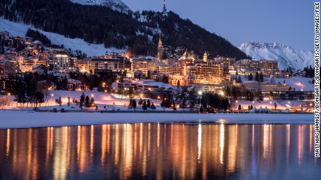 ST MORITZ, SWITZERLAND - FEBRUARY 07:  General view of St  Moritz with Badrutt's Palace Hotel, seen ahead of the White Turf Race on February 7, 2015 in St Moritz, Switzerland.  (Photo by Matthias Hangst/Bongarts/Getty Images)