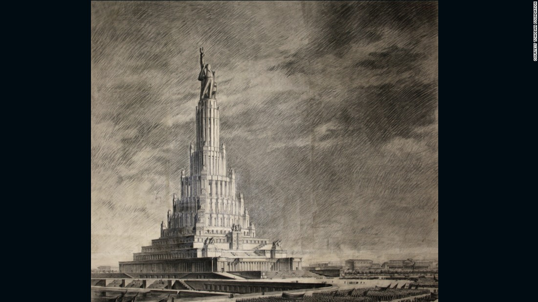 Boris Iofan's colossal design for the Palace of the Soviets has become one of the finest examples of an architectural moonshot that fell to earth. The imposing design was the winning entry of an international competition in 1931 for a new administrative and congress hall in Moscow, Russia. At a height of 1,365 feet (416m), it would have eclipsed the Empire State Building as the tallest in the world, while the 160 meter wide, 100 meter tall main hall held the capacity for 21,000 seats. <br /><br />The design was heavily revised over time -- partially under the instruction of Stalin himself -- emphasizing both neoclassical motifs and the gigantic statue of Lenin atop. The foundations were laid down by 1939 but the Nazi invasion in 1941 halted construction. It never resumed, although the abandoned site would still become home to a record-breaking build -- the Moskova Pool, in 1958, the world's largest outdoor swimming pool.