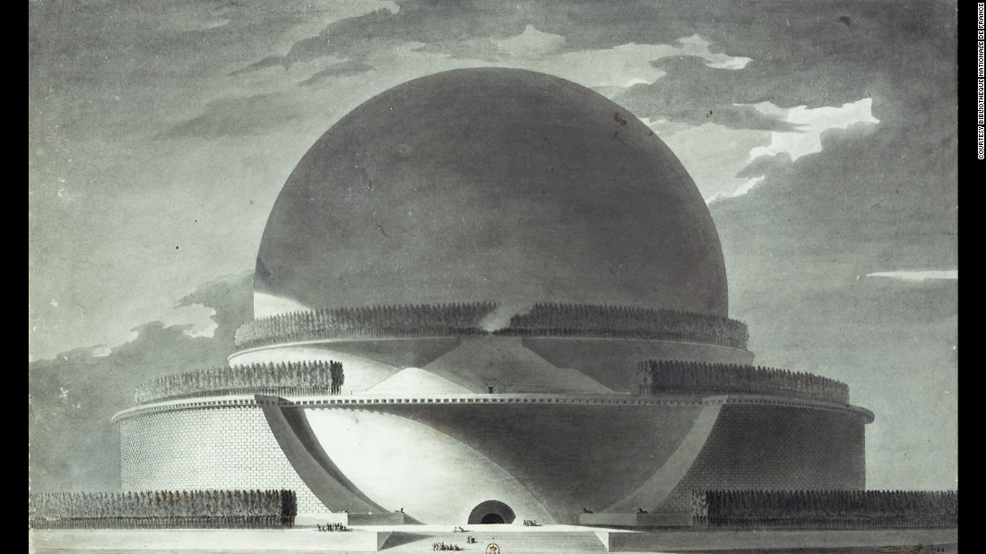 Spheres were integral to the work of mathematician Sir Isaac Newton, in life and, at one time, in death. The great scientist worked out the force holding us to the big sphere beneath our feet, and French architect Etienne-Louis Boullee thought it would be a fitting shape to remember him by. <br /><br />In 1784 he drew up plans for a grand, 500 foot (150 m) cenotaph -- eight meters taller than Strasbourg Cathedral, the highest building at the time. Inside was to be a void, with small holes in the building's shell allowing sunlight to pierce through, mapping out star constellations and planets and acting as a vast planetarium. Though never built, etchings of the concept were popular, with copies currently held a the Bibliotheque Nationale de France.