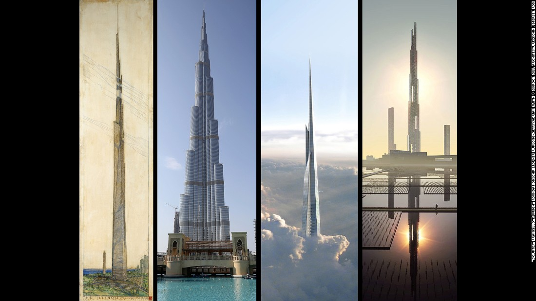 Wright's design (left) was ambitious: a mile-high skyscraper in 1956 was no mean feat. It would have been four times higher than the world's tallest build at the time, and just under twice the height of the world record holder today.<br /><br />The Mile High Illinois began as a concept when Wright was asked to design a mile-high television tower. But, seeing it as a wasted opportunity, he went ahead and built a skyscraper instead. Drawing on the aerodynamic properties of a church spire, he argued that the rapier-like design would resist air pressure and prevent it from swaying in the wind. The architect estimated it would occupy 100,000 people across 528 floors at a probable cost of $60,000,000.<br /><br />An architect not known for his fondness of crowded cities, Wright justified his creation by placing it in a large park, arguing that the vast capacity of the building allowed for greater use of surrounding green space. Cars would not be needed as Wright envisaged helicopters could drop workers off, and factored in parking for 100 of them.<br /><br />Despite a solid architectural framework underpinning the design, it was never built. It's legacy however lives on in a succession of skyscrapers -- built and proposed -- that drew upon Wright's stylings. The current holder of the world's tallest building, the Burj Khalifa stands at 830 meters high, whilst the Jeddah Tower, under construction and the closest to Wright's design, will become the first skyscraper to break the one kilometer mark. The Sky Mile Tower, proposed for Tokyo, aims to achieve Wright's dream and stand a mile high. Part of a vision for a mega-city in Tokyo for 2045, it remains to be seen whether it, like The Illinois, will make it off the drawing board.