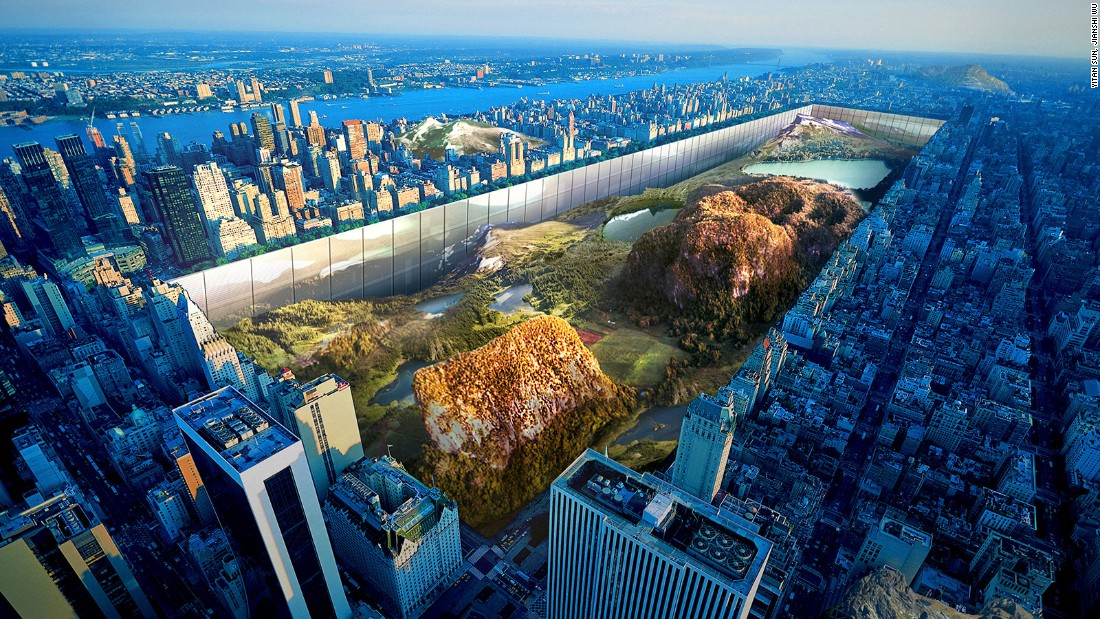 American designers Yitan Sun and Jianshi Wu proposed transforming Central Park into a sunken landscape.