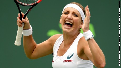 KEY BISCAYNE, FL - MARCH 28:  Timea Bacsinszky of Switzerland celebrates match point against Agnieszka Radwanska of Poland during the Miami Open presented by Itau at Crandon Park Tennis Center on March 28, 2016 in Key Biscayne, Florida.  (Photo by Matthew Stockman/Getty Images)