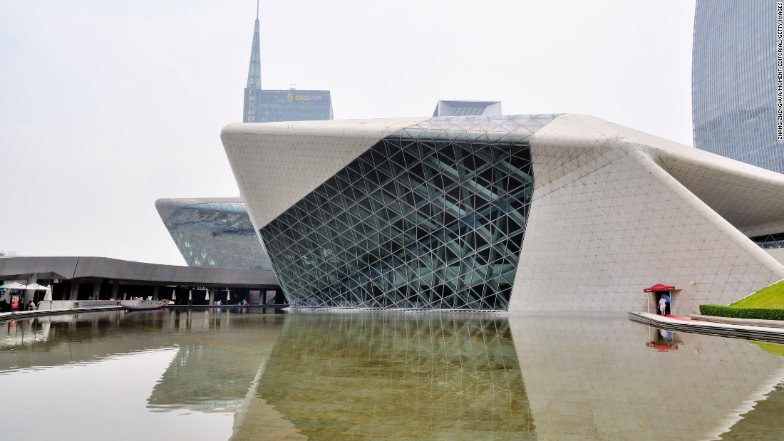 Hadid likened her Guangzhou Opera House in China to two rocks washed up from the Pearl River and deposited on its bank.