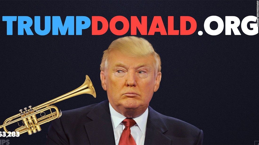 """This <a href=""""http://trumpdonald.org"""" target=""""_blank"""">popular Swedish site</a> allows people to give Donald a blast of trump(et). It's been blown 110,000,000 times and counting."""