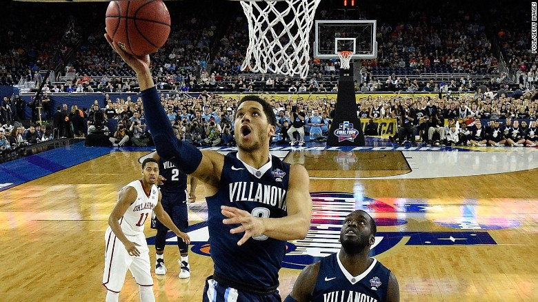 Villanova Wildcats junior guard Josh Hart drives to the basket in the second half against the Oklahoma Sooners during the NCAA Men's Final Four Semifinal at NRG Stadium in Houston. Hart had a game-high 23 points.