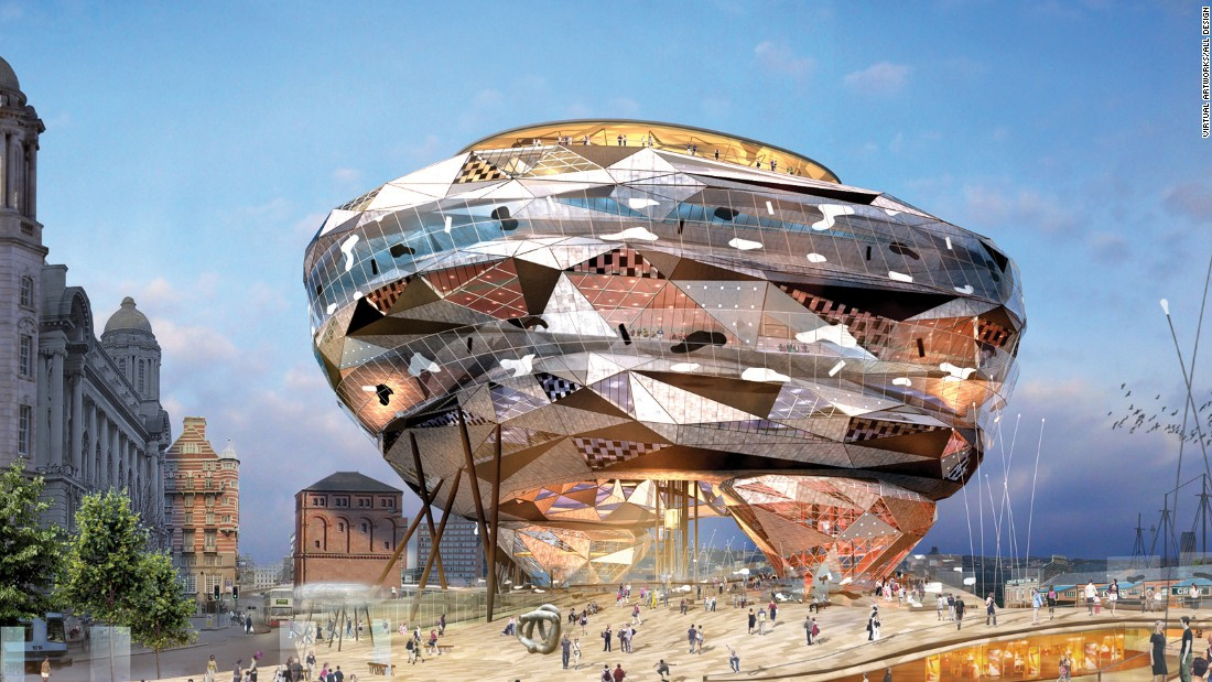 """It was supposed to be the centerpiece of Liverpool, England's redevelopment as European Capital of Culture in 2008. As it stands, all that remains of the Fourth Grace (also known as The Cloud) are these beautiful renderings. The concept, which was once described as a """"diamond knuckleduster"""" by <a href=""""http://www.theguardian.com/uk/2004/jul/23/northerner.helencarter"""" target=""""_blank"""">The Guardian</a>, won an architectural competition in 2002 for a fourth building to sit alongside Liverpool's Three Graces - the Royal Liver Building, the Cunard Building and the Port of Liverpool building. A mixture of museum and commercial rental space, its £228 million ($322 million) budget spiraled to £324 million ($457 million) by 2004, spelling the end to a design that the locals, if not the architectural community, were set against from the off."""