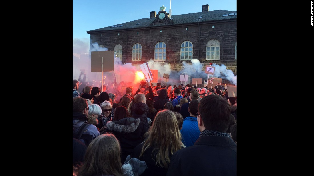 Protesters packed the streets outside Iceland's parliament Monday, calling for the prime minister's resignation.