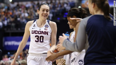 INDIANAPOLIS, IN - APRIL 03:  Breanna Stewart #30 of the Connecticut Huskies celebrates with teammates in the fourth quarter against the Oregon State Beavers during the semifinals of the 2016 NCAA Women's Final Four Basketball Championship at Bankers Life Fieldhouse on April 3, 2016 in Indianapolis, Indiana.  (Photo by Andy Lyons/Getty Images)