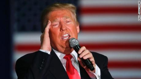 Republican presidential candidate Donald Trump speaks during a campaign event, Monday, April 4, 2016, in La Crosse, Wis. (AP Photo/Paul Sancya)