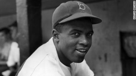 Jackie Robinson portrait as a Brooklyn Dodger.