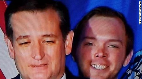 Who's that #CreepyGuy behind Ted Cruz?