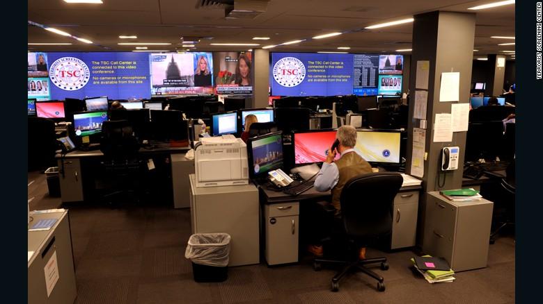 The operations center at the Terrorist Screening Center