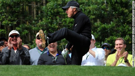 AUGUSTA, GEORGIA - APRIL 06:  Gary Player reacts during the Par 3 Contest prior to the start of the 2016 Masters Tournament at Augusta National Golf Club on April 6, 2016 in Augusta, Georgia.  (Photo by David Cannon/Getty Images)